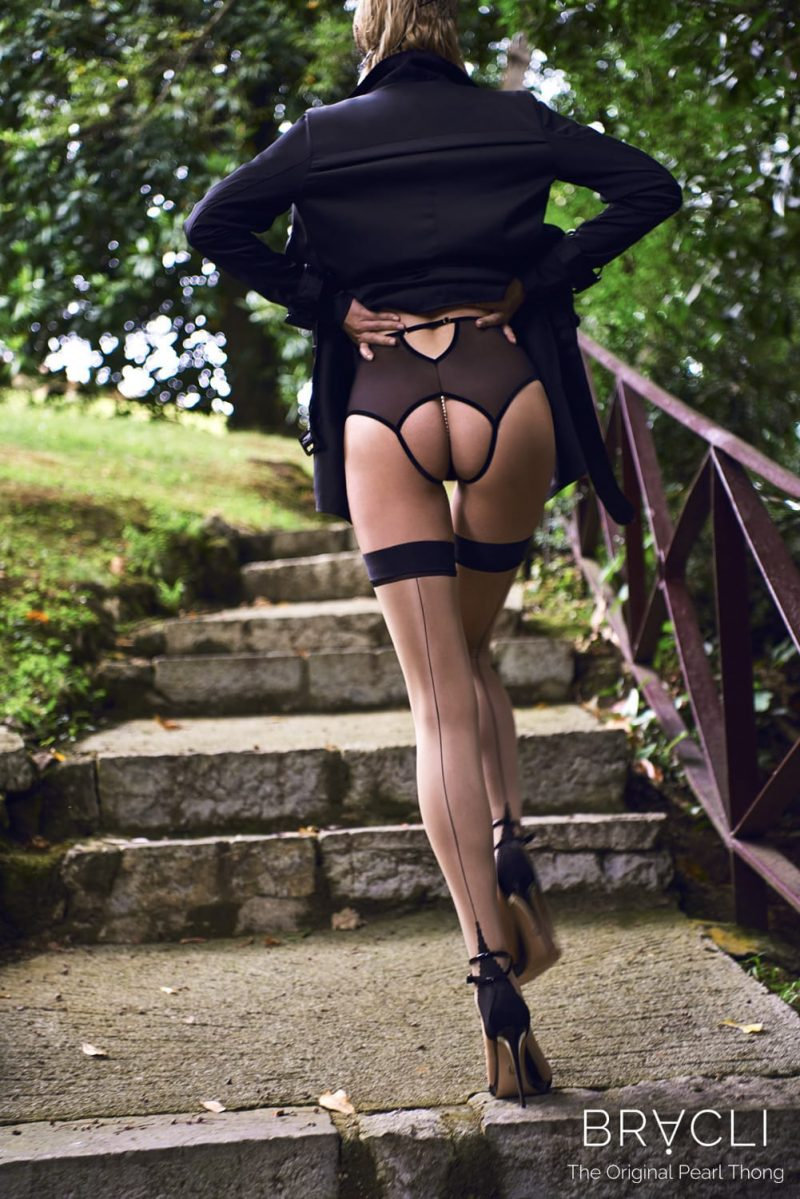 kyoto high waisted brief - rear view model on steps close up perlita UK